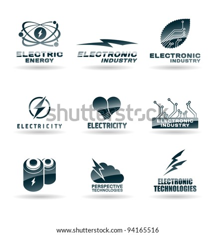 Set of electric energy icons. Electricity. - stock vector