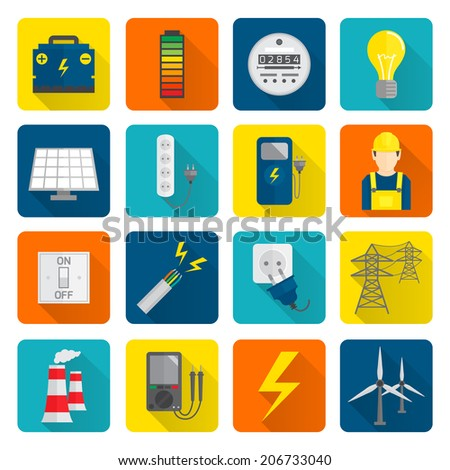 Set of electricity energy accumulator icons in flat style on squares with long shadows vector illustration - stock vector