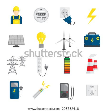 Set of electricity energy accumulator icons in flat style vector illustration - stock vector