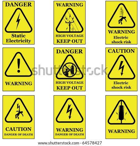 Set of electricity sign symbols vector isolated on white - stock vector