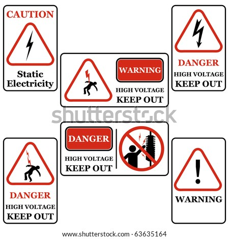Set of electricity signs symbols vector isolated on white Black & Red - stock vector