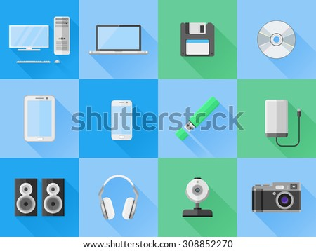 Set of electronic and computer devices flat icons.  Vector illustration.