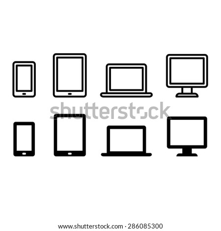 Set of electronic device icons: smartphone, tablet, laptop and desktop computer. Two styles - thin line and flat solid color. - stock vector
