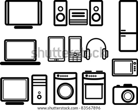 set of electronic devices - stock vector