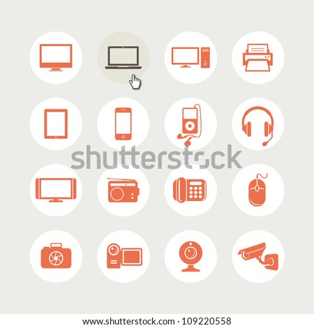 Set of electronic devices icons - stock vector