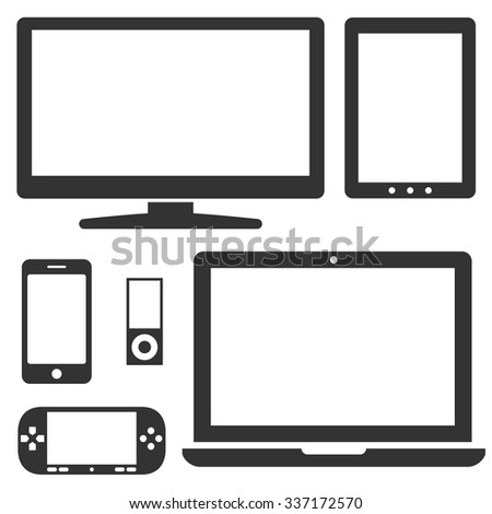 Set of electronic devices with a blank display. Icons of laptop, mobile phone, tablet, monitor, audio player, game console. Collection of vector images isolated on white background. - stock vector
