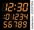 set of electronic digits. orange digits on black background - stock vector