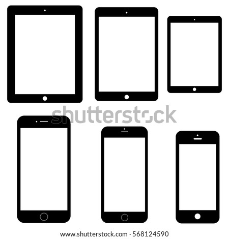 Set of electronics icons: tablets and smartphones on white background. Vector Apple outline devices mockups. Vector illustration.