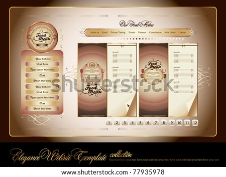 set of elegance food menu website template - stock vector