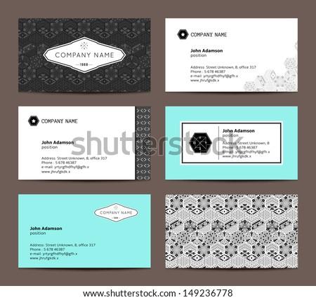 Set of elegant business cards - stock vector
