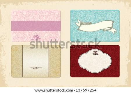 Set of 4 elegant cards - stock vector