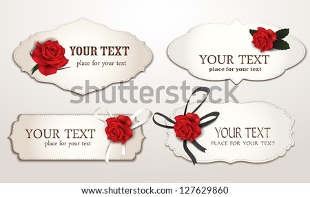 Set of elegant cards with red roses - stock vector