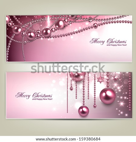 Set of Elegant Christmas banners with baubles and stars. Vector illustration - stock vector