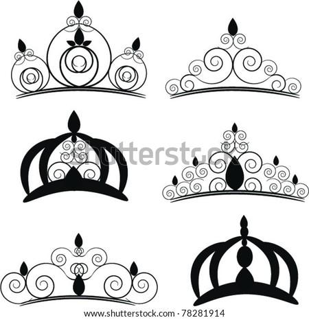 set of elegant crowns - stock vector