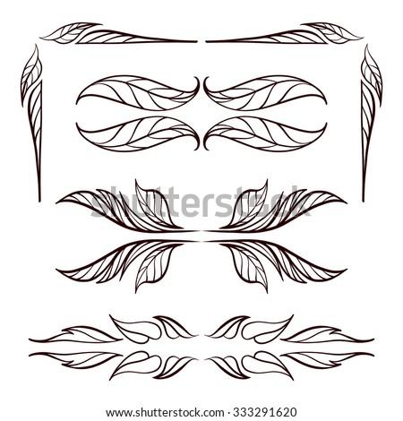 Set of elegant floral elements for your design - stock vector