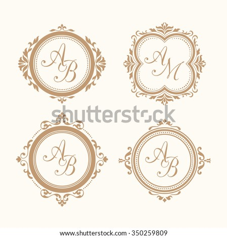 Set Elegant Floral Monogram Design Templates Stock Vector HD