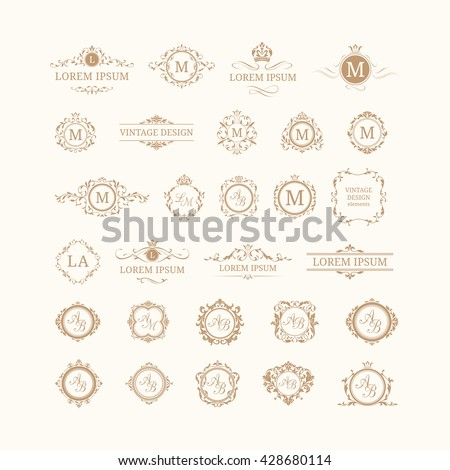Set of elegant floral monograms and borders - stock vector