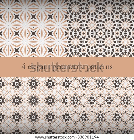 Set of elegant geometric patterns. Can be used for used for wallpaper, pattern fills, web page background, surface texture, textile. Vector illustration.