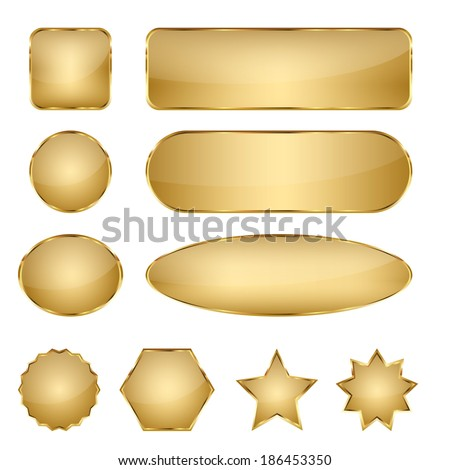 Set of 10 elegant golden blank vector web buttons with different shapes. - stock vector