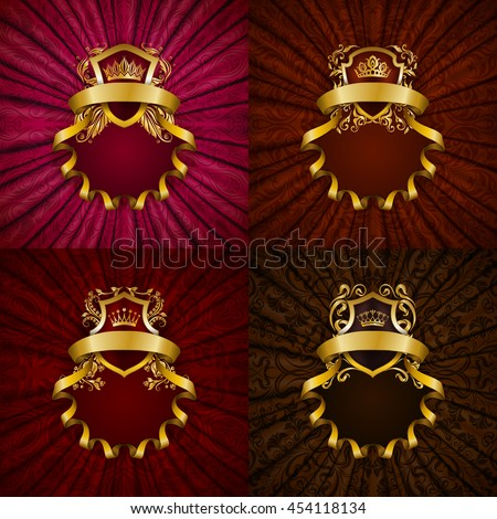 Set of elegant golden frame with floral element, royal ornament, gold crown, shield, ribbons, place for text on red drapery fabric. Luxury ornate background in vintage style. Vector illustration EPS10 - stock vector