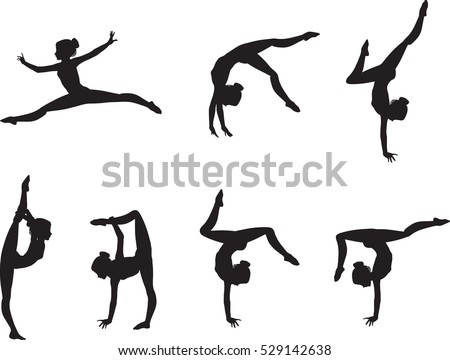 Set of elegant gymnast's silhouettes.