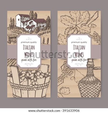 Set 2 Elegant Italian Wine Label Stock Vector 391633906 Shutterstock