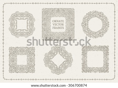 Set of elegant ornate floral design templates. Lineart vector frames and monograms illustration. - stock vector