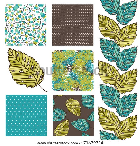 set of 6 elegant seamless patterns with decorative green and blue leaves, dots, swirls and abstract flowers, design elements - stock vector
