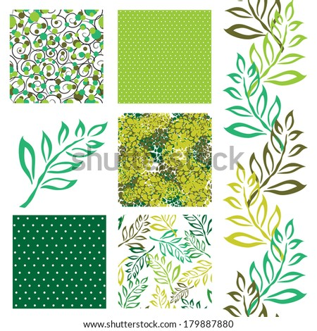 set of 6 elegant seamless patterns with decorative green leaves, dots, curls and abstract flowers, design elements - stock vector