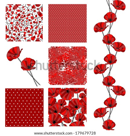 set of 6 elegant seamless patterns with decorative red poppies, dots, curls and abstract flowers, design elements - stock vector