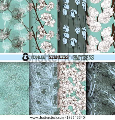 Set of 8 elegant seamless patterns with hand drawn decorative flowers, design elements. Floral patterns for wedding invitations, greeting cards, scrapbooking, print, gift wrap, manufacturing. - stock vector