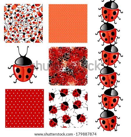 set of 6 elegant seamless patterns with lucky ladybugs, dots, curls and abstract flowers, design elements - stock vector