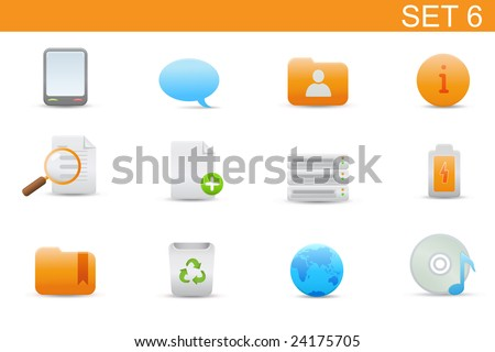 set of elegant simple icons for common computer and media devices functions. Set-6 - stock vector