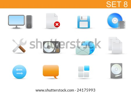 set of elegant simple icons for common computer and media devices functions.Set-8 - stock vector