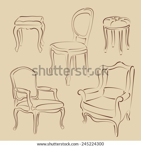 Set of elegant sketched armchairs and chairs. Harmonic colors. Background can be easily removed. Design template for label, banner, badge, logo. Vector. - stock vector