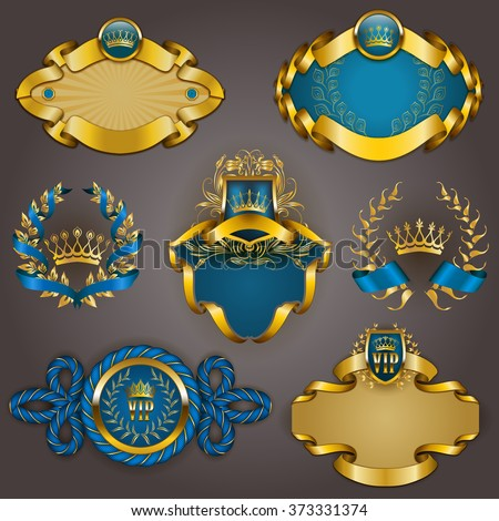 Set of elegant templates for gold vip frames with laurel wreaths on gray background. Filigree border, crown in vintage style for graphic design of club card, logo, icon. Vector illustration EPS 10. - stock vector