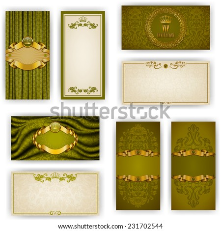 Set of elegant templates for vip luxury invitation, greeting, gift card with lace ornament, crown, ribbon, drapery fabric, place for text. Floral elements, ornate background. Vector illustration EPS10 - stock vector