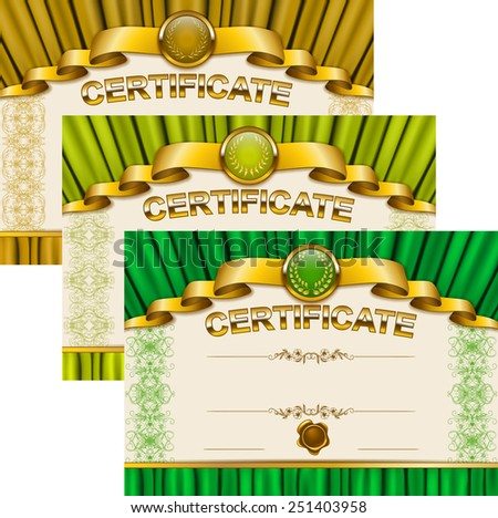 Set of elegant templates of diploma with lace ornament, ribbon, wax seal, drapery fabric, place for text. Certificate of achievement, education, awards, winner. Vector illustration EPS 10. - stock vector