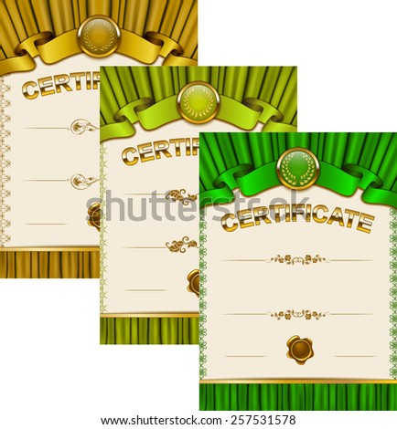 Set of elegant templates of diploma with lace ornament, ribbon, wax seal, drapery fabric, place for text. Certificate of achievement, education, awards, winner. Vector illustration EPS 10.