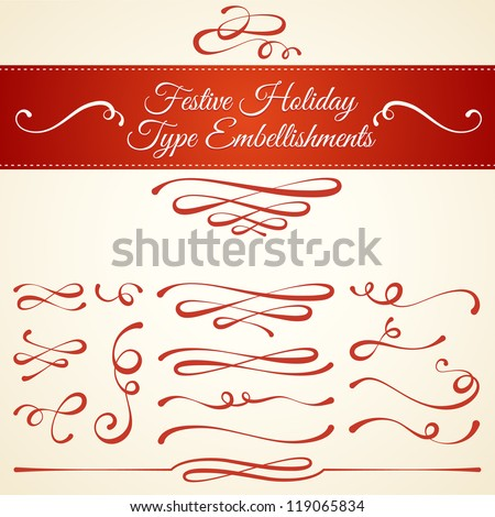 Set of elegant type embellishments and ornamental typographic elements. Festive calligraphic design style for seasonal holidays like Christmas and celebration. Invitation and greeting. Vector Eps10. - stock vector