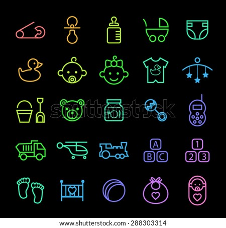 Set of Elegant Universal Minimal Thin Line Colored Neon Stroke Baby Icons with Color Gradient on Black Background. - stock vector