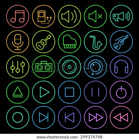 Set of Elegant Universal Minimal Thin Line Colored Neon Stroke Music Icons with Color Gradient on Circular Buttons on Black Background.