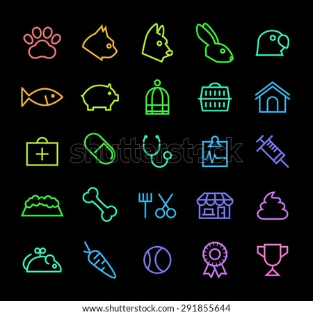 Set of Elegant Universal Minimal Thin Line Colored Neon Stroke Veterinary Icons with Color Gradient on Black Background. - stock vector