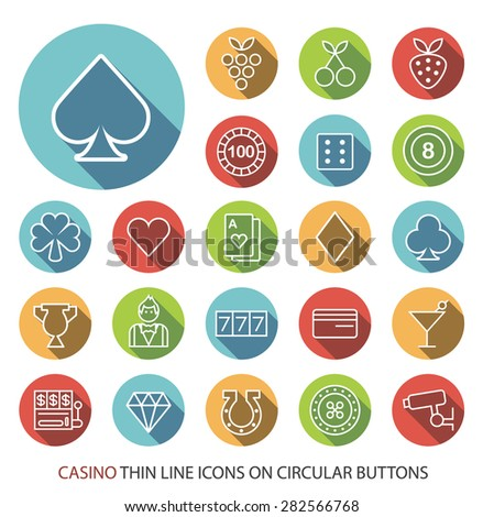 Set of Elegant Universal White Casino Minimalistic Thin Line Icons on Circular Colored Buttons on White Background. - stock vector