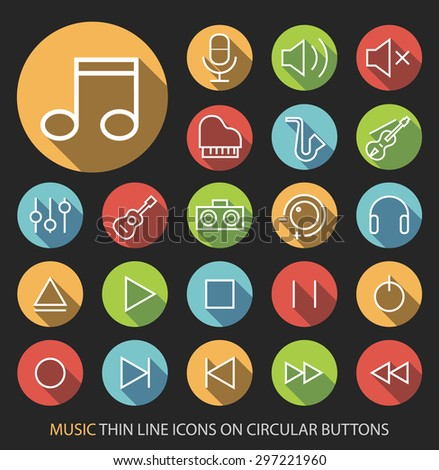 Set of Elegant Universal White Music Minimalistic Simple Isolated Thin Line Icons on Circular Colored Buttons on Black Background. - stock vector