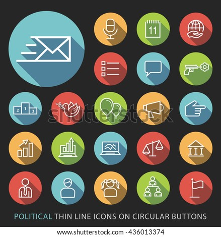 Set of Elegant Universal White Politics Minimalistic Thin Line Icons on Circular Colored Buttons on Black Background.