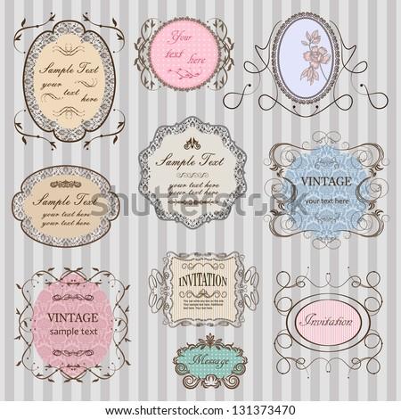 Set of elegant vintage frames - stock vector