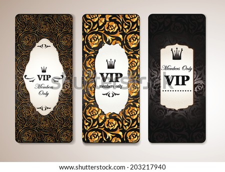 SET OF ELEGANT VIP BANNERS WITH FLORAL DESIGN ELEMENTS - stock vector