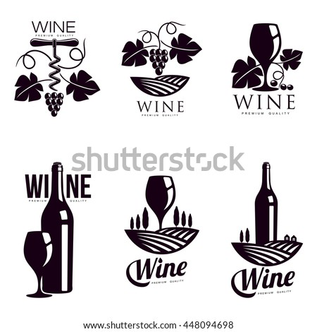 Set of elegant wine logo templates, vector illustration isolated on white background. Vintage style wine badges and labels. Black and white logo templates for your design - stock vector