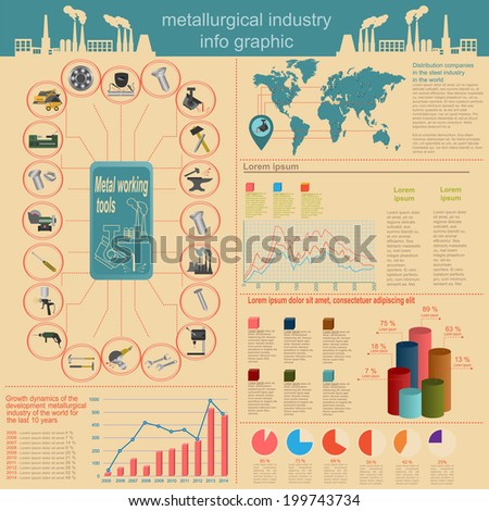 Set of elements and tools of metallurgical industry for creating infograpics. Vector illustration - stock vector